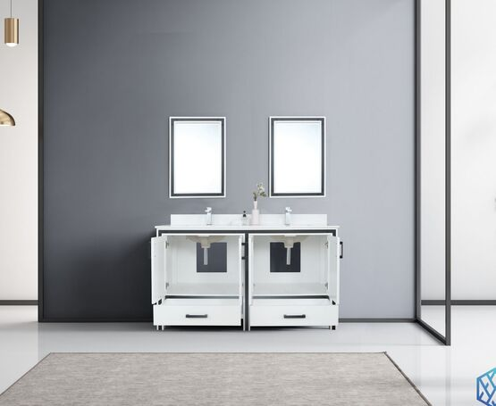 "LEXORA Ziva 60"" Dark Grey Double Vanity, Cultured Marble Top, White Square Sink and 22"" Mirrors"