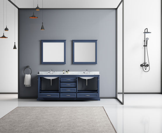 "LEXORA Dukes 80"" Navy Blue Double Vanity, White Carrara Marble Top, White Square Sinks and 30"" Mirrors"