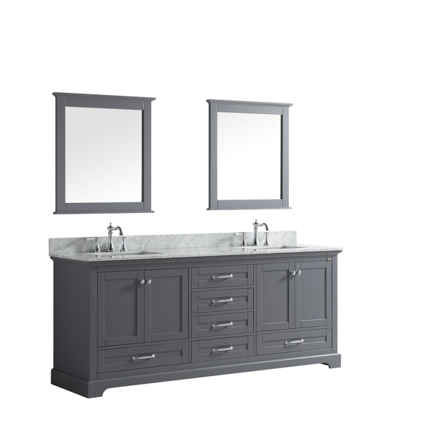 "LEXORA Dukes 80"" Dark Grey Double Vanity, White Carrara Marble Top, White Square Sinks and 30"" Mirrors"