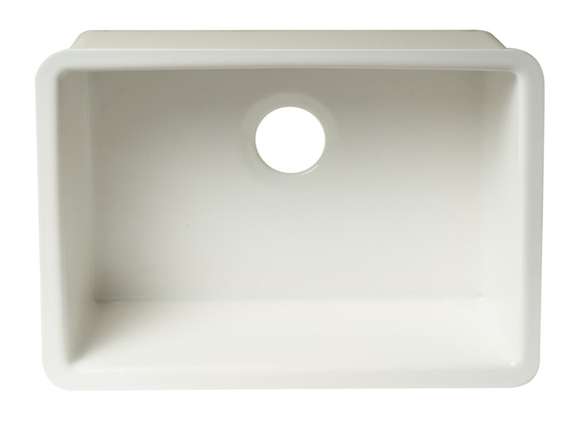 "ALFI brand White Fireclay Undermount Kitchen Sink 29""L x 21""W - LUXLLEY"