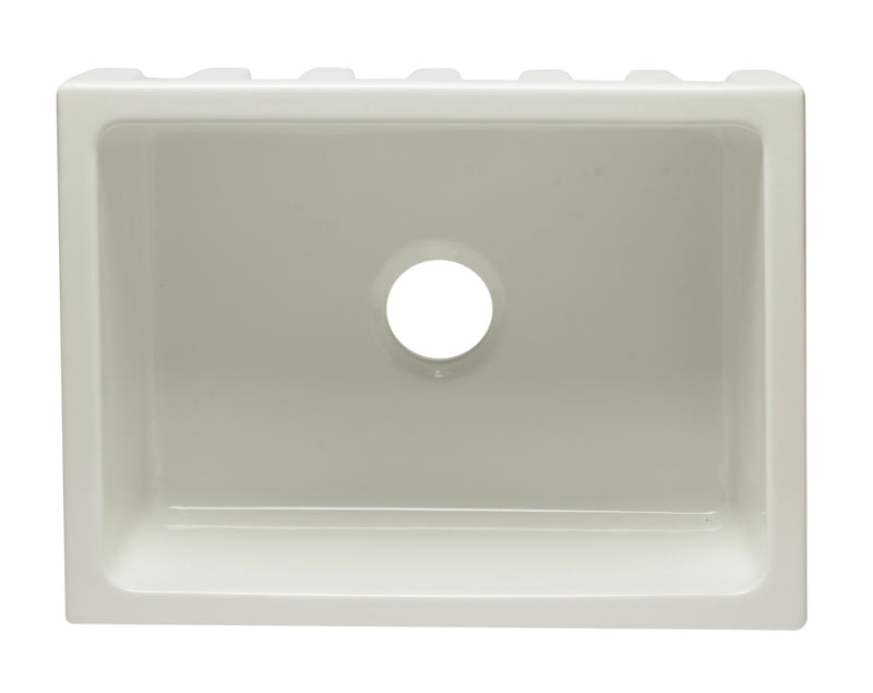 "ALFI brand Reversible Smooth / Fluted Single Bowl Fireclay Farm Sink 24""L x 10""W - LUXLLEY"