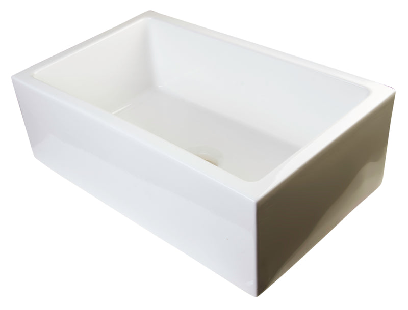 "ALFI brand Smooth Solid Thick Wall Fireclay One Bowl Farm Sink 30""L x 18""W - LUXLLEY"