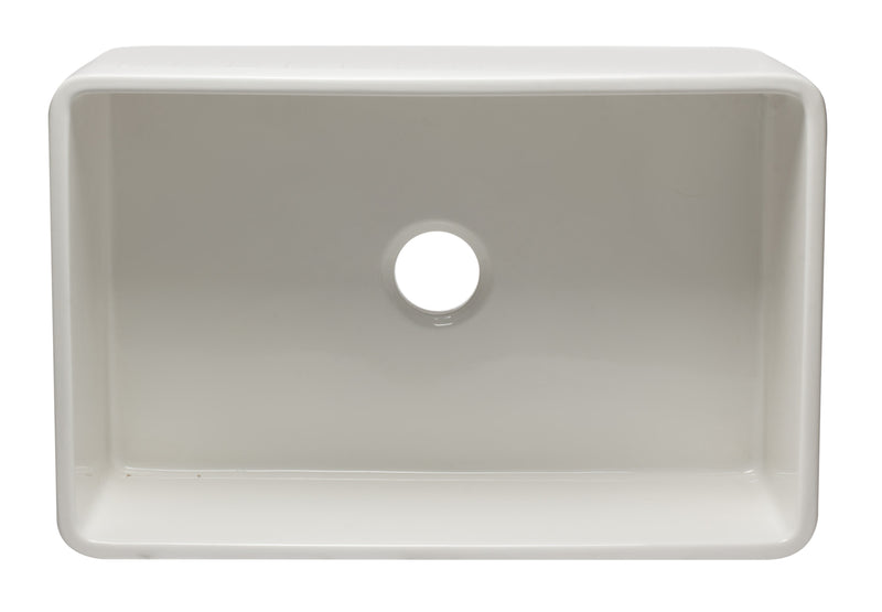 "ALFI brand Reversible Single Bowl Fireclay Farmhouse Apron Kitchen Sink 30""L x 10""W - LUXLLEY"