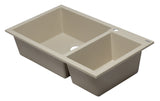 "ALFI brand Double Bowl  Drop In Granite Composite Kitchen Sink 33.88""L x 19.75""W - LUXLLEY"