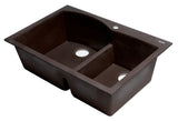 "ALFI brand Double Bowl Drop In Granite Composite Kitchen Sink 33""L x 22""W - LUXLLEY"