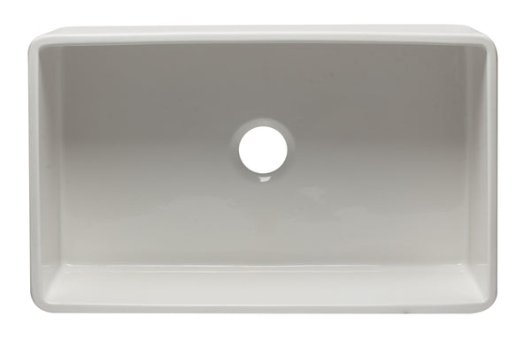 "ALFI brand Reversible Single Bowl Fireclay Farmhouse Apron Kitchen Sink 33""L x 10""W - LUXLLEY"