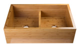 "ALFI brand Double Bowl Bamboo Kitchen Farm Sink 32.63""L x 21""W - LUXLLEY"