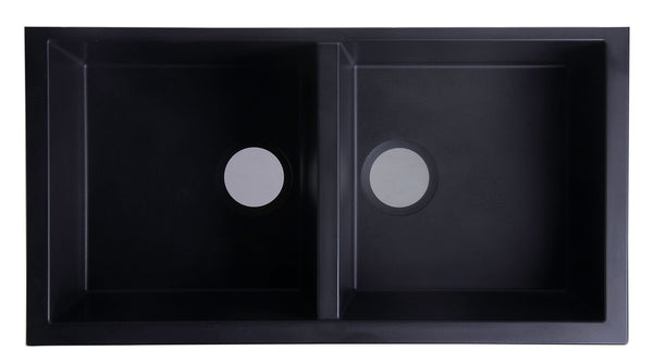 "ALFI brand Undermount Double Bowl Granite Composite Kitchen Sink 34""L x 18""W - LUXLLEY"