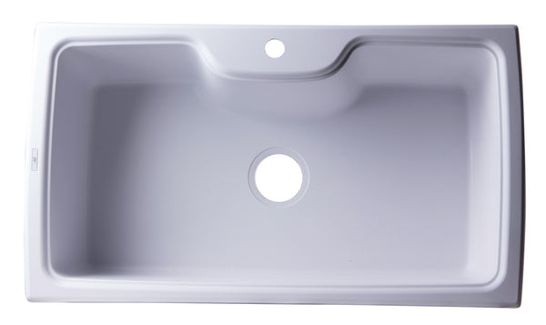 "ALFI brand Drop-In Single Bowl Granite Composite Kitchen Sink 34.63""L x 19.69""W - LUXLLEY"