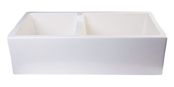 "ALFI brand Smooth Thick Wall Fireclay Double Bowl Farm Sink 36""L x 18""W - LUXLLEY"