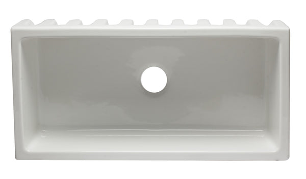 "ALFI brand Smooth Single Bowl Fireclay Farm Sink 36""L x 18""W - LUXLLEY"