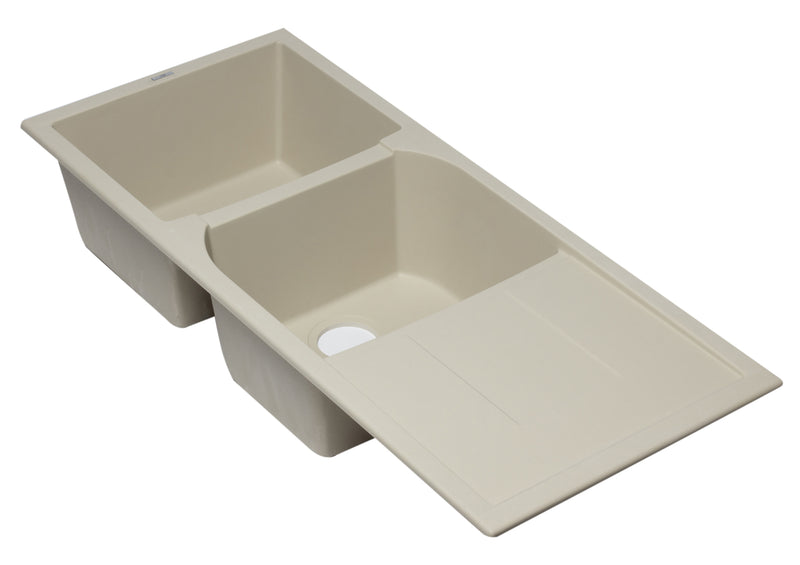 "ALFI brand Double Bowl Granite Composite Kitchen Sink with Drainboard 46""L x 19.75""W - LUXLLEY"