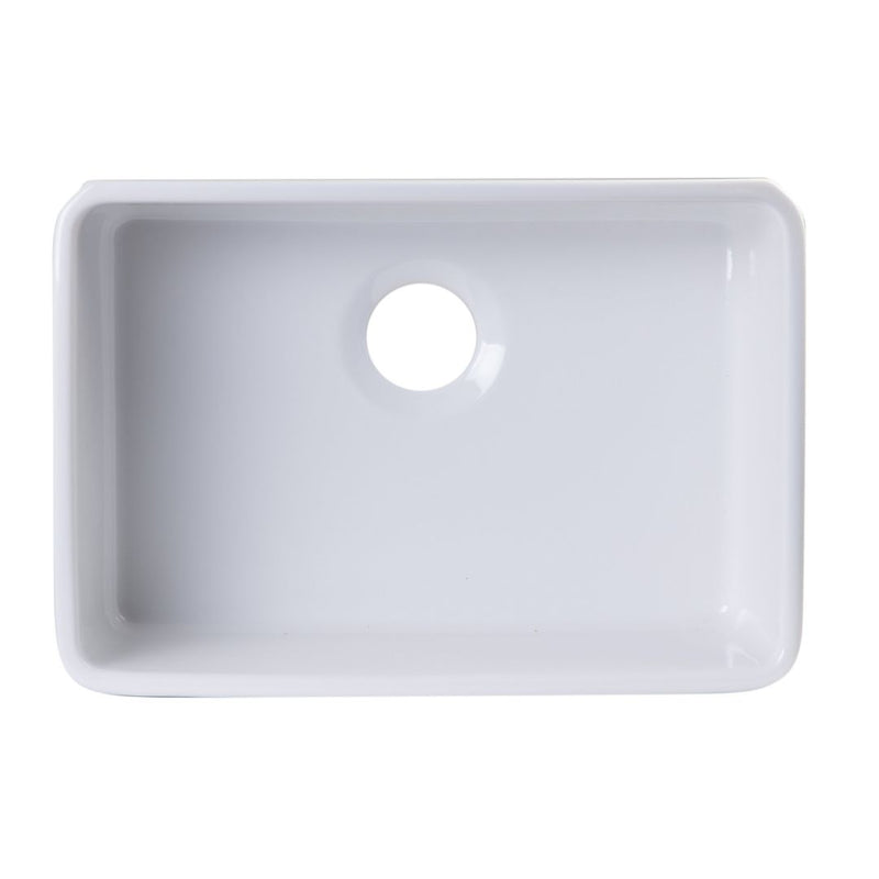 "ALFI brand Single Bowl Fireclay Undermount Kitchen Sink 23""L x 16""W - LUXLLEY"