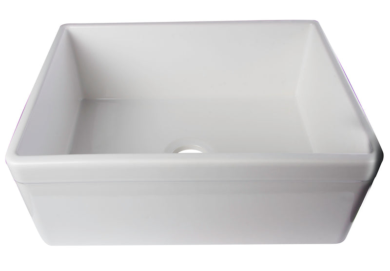 "ALFI brand Decorative Lip Single Bowl Fireclay Farmhouse Kitchen Sink 26""L x 20""W - LUXLLEY"
