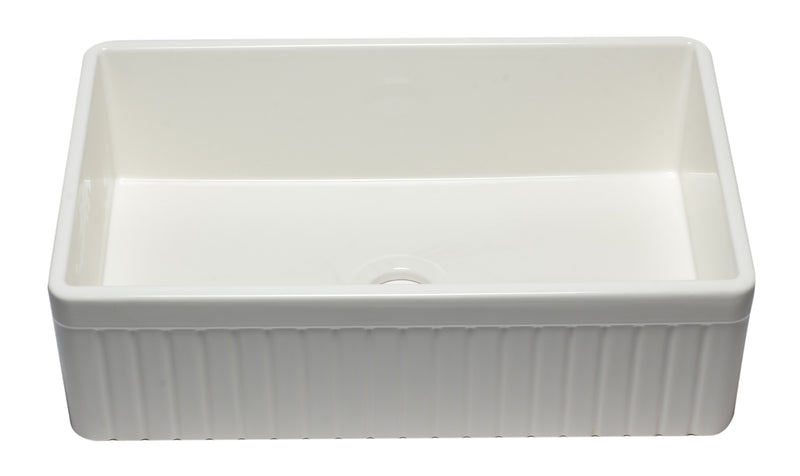"ALFI brand Single Bowl Fluted Fireclay Farm Sink 33"" L x 20"" W - LUXLLEY"