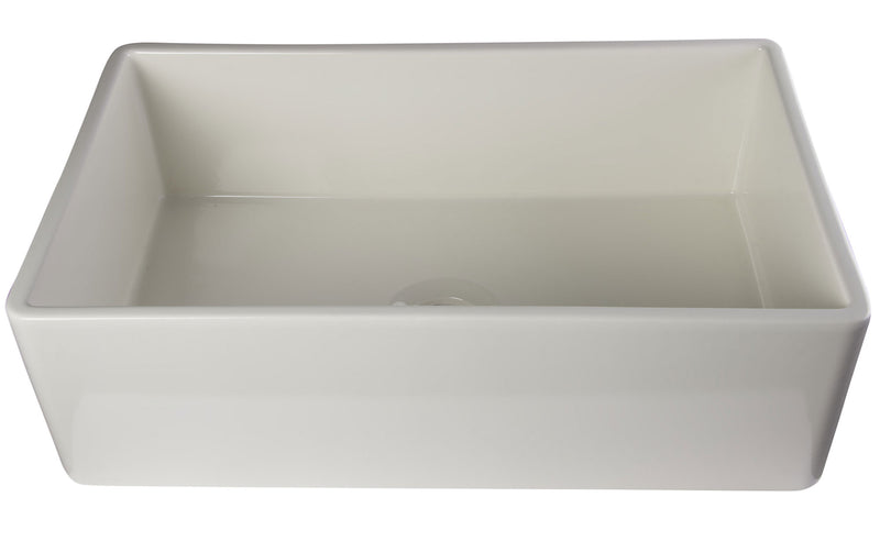 "ALFI brand Smooth Single Bowl Fireclay Farm Sink 33""L x 20""W - LUXLLEY"