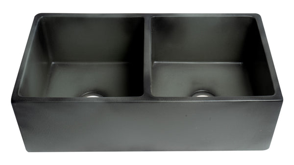 "ALFI brand Concrete Color Reversible Double Fireclay Farmhouse Kitchen Sink 32""L x 17""W - LUXLLEY"