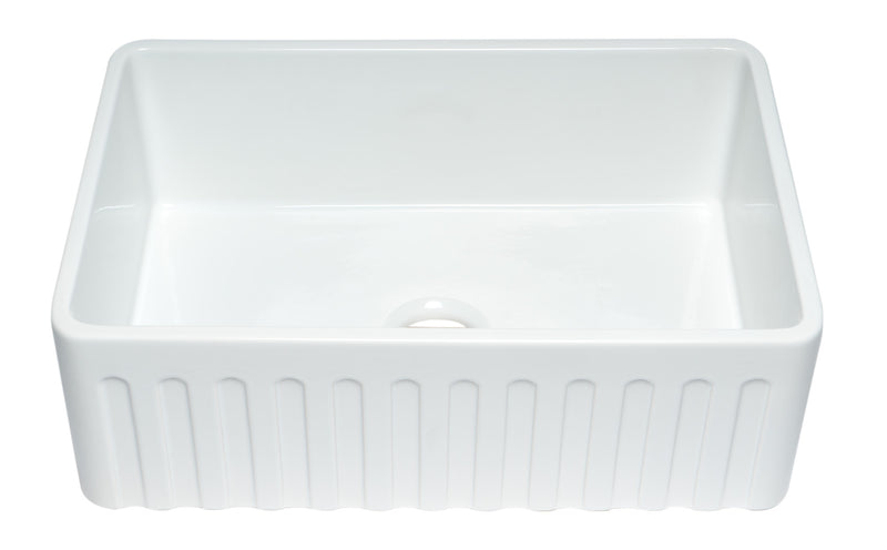 "ALFI brand Smooth Titanium/Fluted Reversible Single Fireclay Farmhouse Kitchen Sink 30""L x 21""W - LUXLLEY"