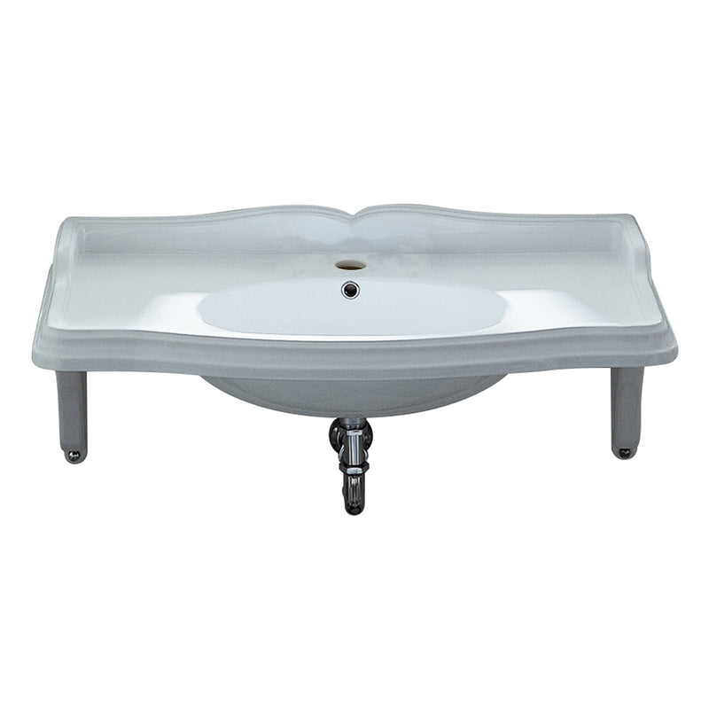 Whitehaus Isabella Collection Large Rectangular Wall Mount Basin with Integrated Oval Bowl, Single Hole Faucet Drilling and Ceramic Shelf Supports