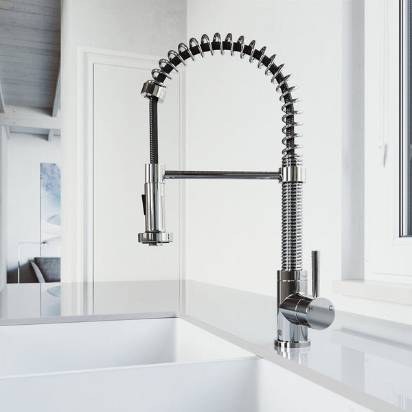 VIGO Edison Pull-Down Spray Kitchen Faucet With Deck Plate - LUXLLEY