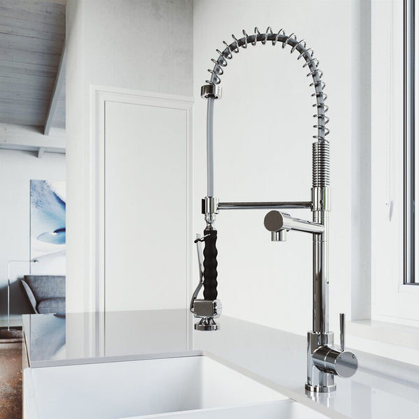 VIGO Zurich Pull-Down Spray Single Handle Kitchen Faucet - LUXLLEY