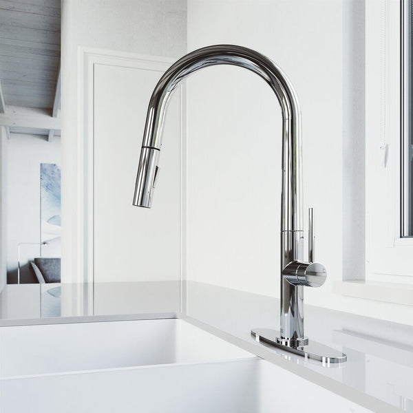 VIGO Greenwich Pull-Down Spray Kitchen Faucet With Deck Plate - LUXLLEY