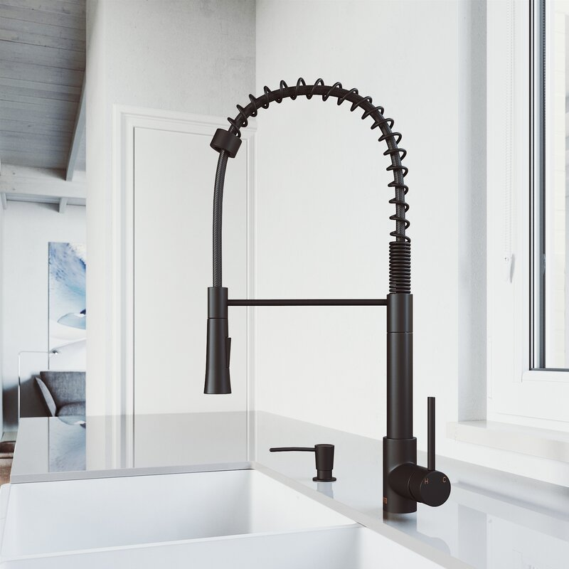 VIGO Laurelton Pull-Down Spray Kitchen Faucet With Soap Dispenser - LUXLLEY