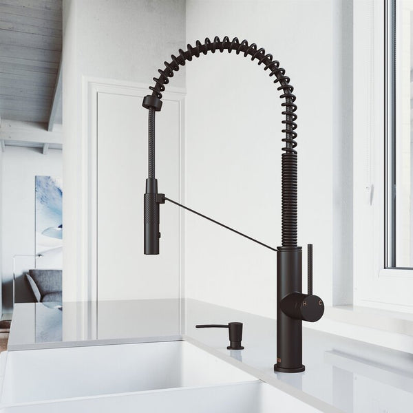 VIGO Livingston Magnetic Pull Down Single Handle Kitchen Faucet With cFiber© Technology And Soap Dispenser - LUXLLEY