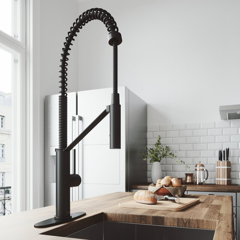 VIGO Livingston Magnetic Pull Down Single Handle Kitchen Faucet With cFiber© Technology And Deck Plate - LUXLLEY