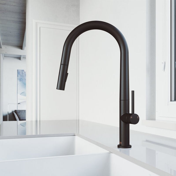 VIGO Greenwich Pull-Down Spray Kitchen Faucet - LUXLLEY