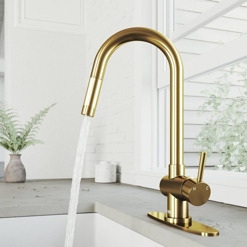 VIGO Gramercy Pull Down Single Handle Kitchen Faucet With Deck Plate - LUXLLEY