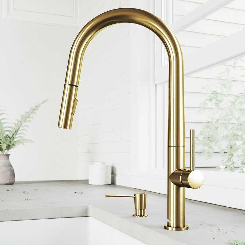 VIGO Greenwich Pull-Down Spray Kitchen Faucet With Soap Dispenser - LUXLLEY