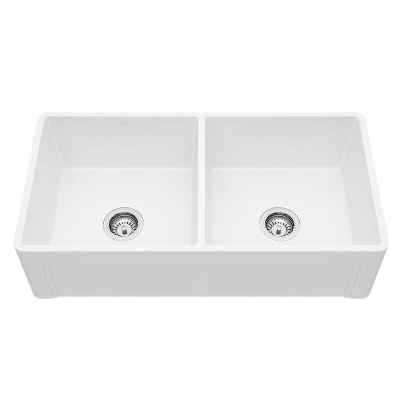 "VIGO Casement Front Matte Stone™ Double Bowl Farmhouse Kitchen Sink 36""L x 18""W - LUXLLEY"
