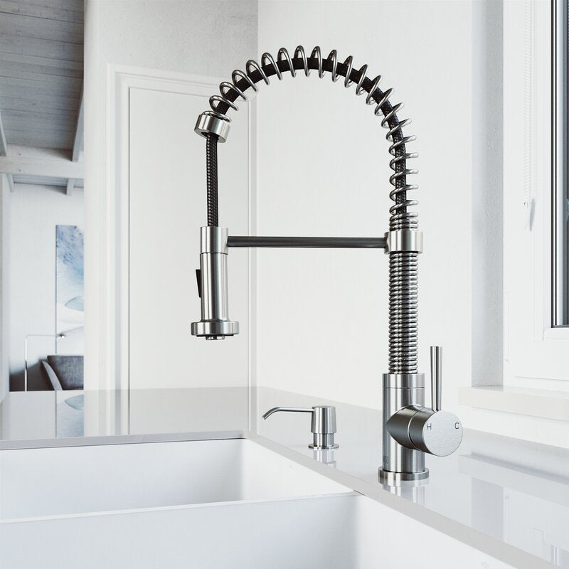 VIGO Edison Pull-Down Spray Kitchen Faucet With Soap Dispenser - LUXLLEY