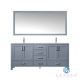 "LEXORA Jacques 72"" Distressed Grey Double Vanity, White Carrara Marble Top, White Square Sinks and 70"" Mirror"