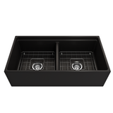 BOCCHI Contempo Apron Front Step Rim Fireclay 36 in. Double Bowl Kitchen Sink with Protective Bottom Grids and Strainers
