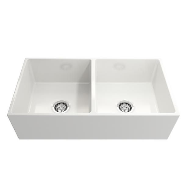 BOCCHI Contempo Apron Front Fireclay 36 in. Double Bowl Kitchen Sink with Protective Bottom Grids and Strainers