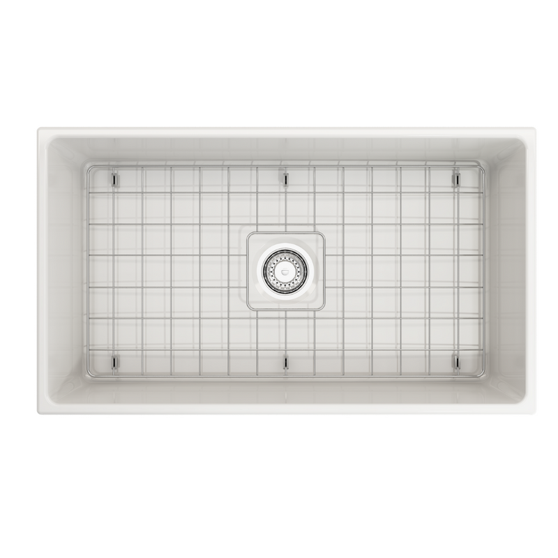 BOCCHI Vigneto Apron Front Fireclay 33 in. Single Bowl Kitchen Sink with Protective Bottom Grid and Strainer