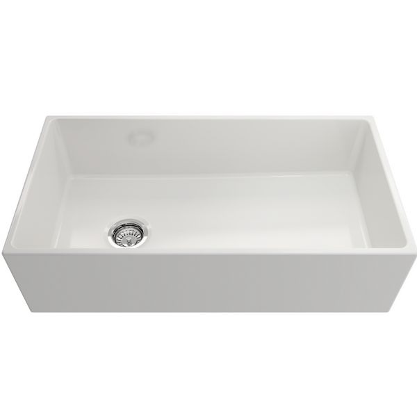 BOCCHI Contempo Apron Front Fireclay 36 in. Single Bowl Kitchen Sink with Protective Bottom Grid and Strainer