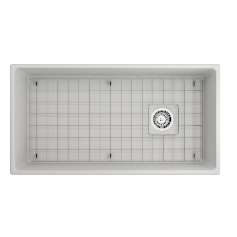 BOCCHI Vigneto Apron Front Fireclay 36 in. Single Bowl Kitchen Sink with Protective Bottom Grid and Strainer