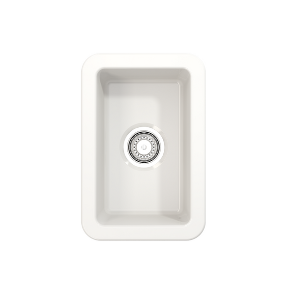 BOCCHI Sotto Undermount Fireclay 12 in. Single Bowl Kitchen Sink with Strainer