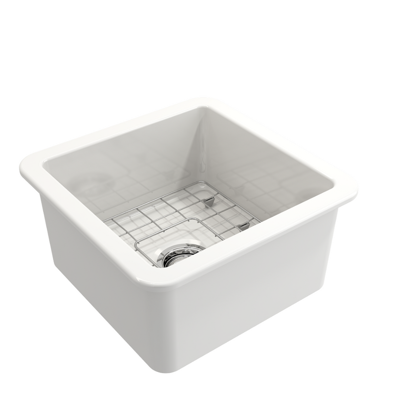 BOCCHI Sotto Undermount Fireclay 18 in. Single Bowl Kitchen Sink with Protective Bottom Grid and Strainer