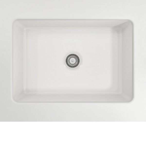 BOCCHI Sotto Undermount Fireclay 27 in. Single Bowl Kitchen Sink with Protective Bottom Grid and Strainer