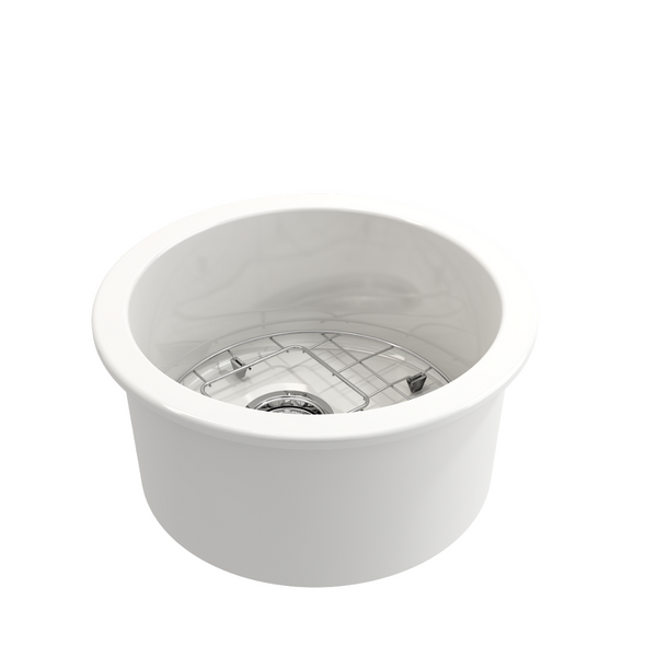 BOCCHI Sotto Round Undermount Fireclay 18.5 in. Single Bowl Kitchen Sink with Protective Bottom Grid and Strainer