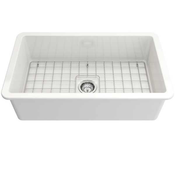 BOCCHI Sotto Undermount Fireclay 32 in. Single Bowl Kitchen Sink with Protective Bottom Grid and Strainer
