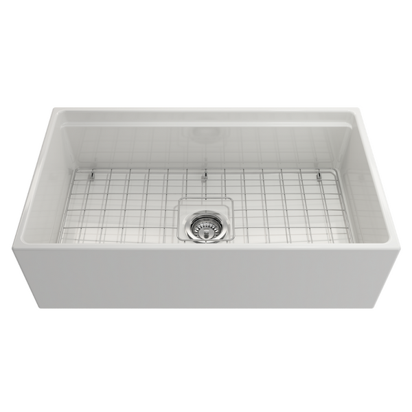 BOCCHI Contempo Apron Front Step Rim Fireclay 33 in. Single Bowl Kitchen Sink with Protective Bottom Grid and Strainer