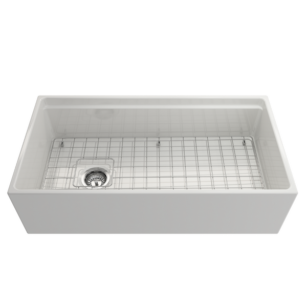 BOCCHI Contempo Apron Front Step Rim Fireclay 36 in. Single Bowl Kitchen Sink with Protective Bottom Grid and Strainer