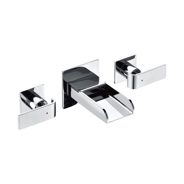 ALFI brand  Polished Chrome Widespread Wall Mounted Modern Waterfall Bathroom Faucet