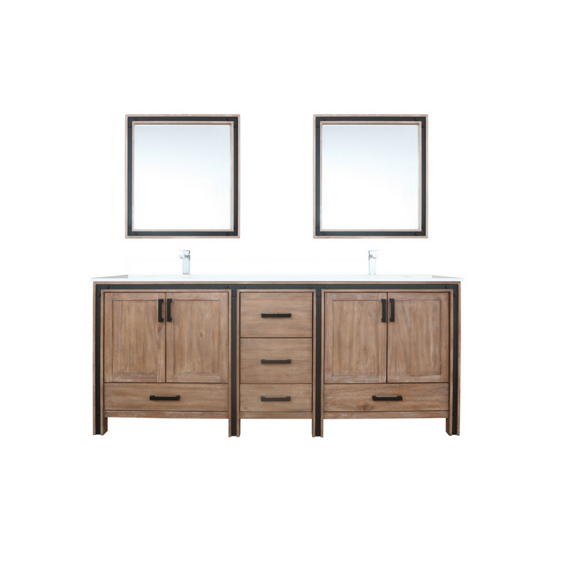 "LEXORA Ziva 80"" Rustic Barnwood Double Vanity, Cultured Marble Top, White Square Sink and 30"" Mirrors w/ Faucet"