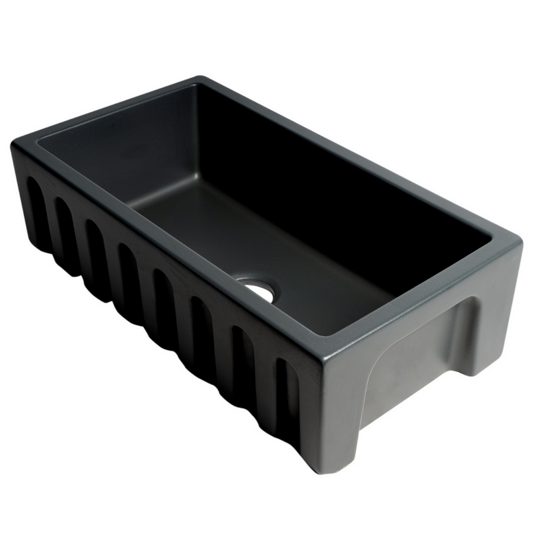"ALFI brand 33"" Black Matte Reversible Smooth / Fluted Single Bowl Fireclay Farm Sink"